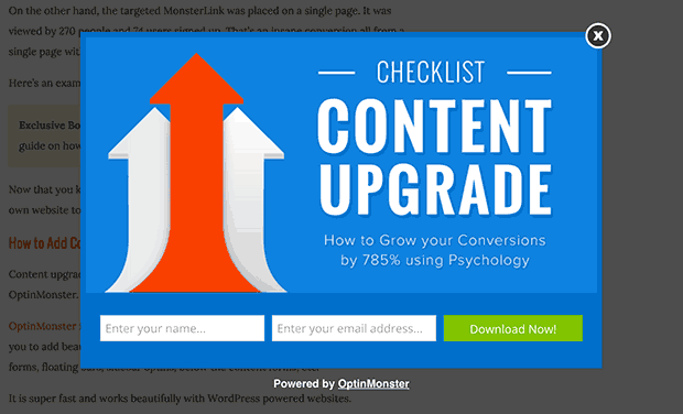 Content upgrade examples for fast list building