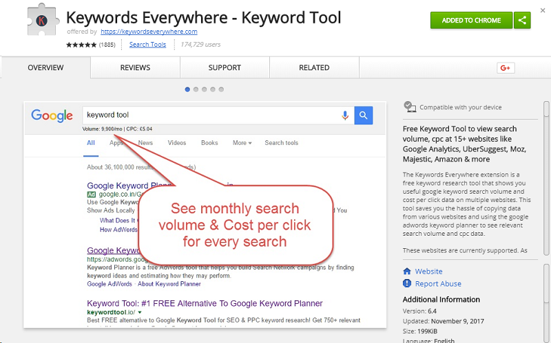 Install Chrome extension for keyword research