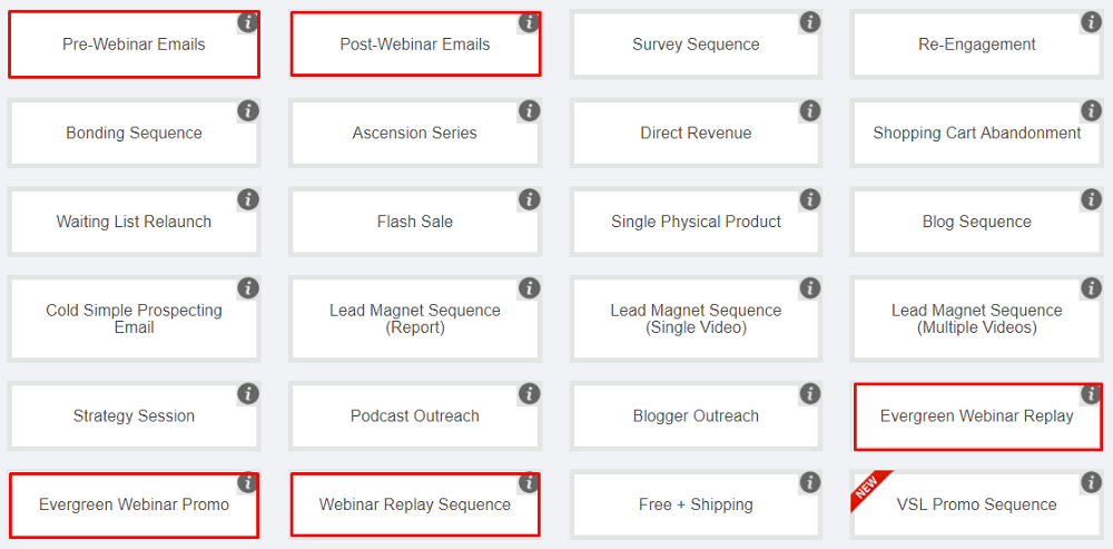 Sell on webinars - autoresponder sequences