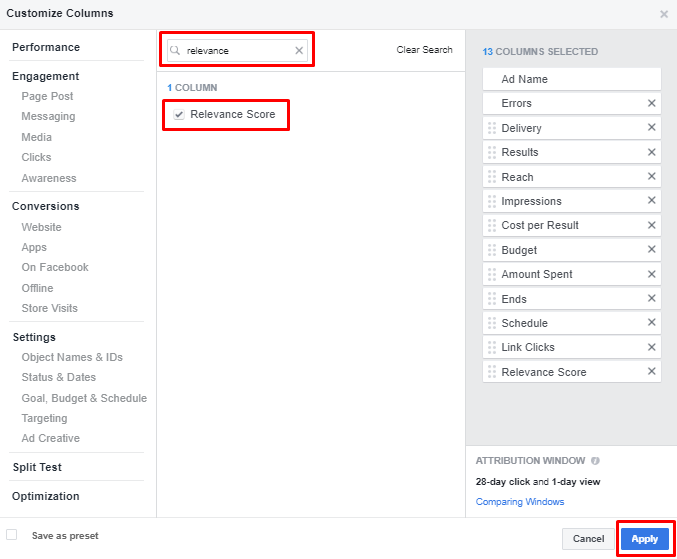 Add relevance score to your Facebook Ads dashboard