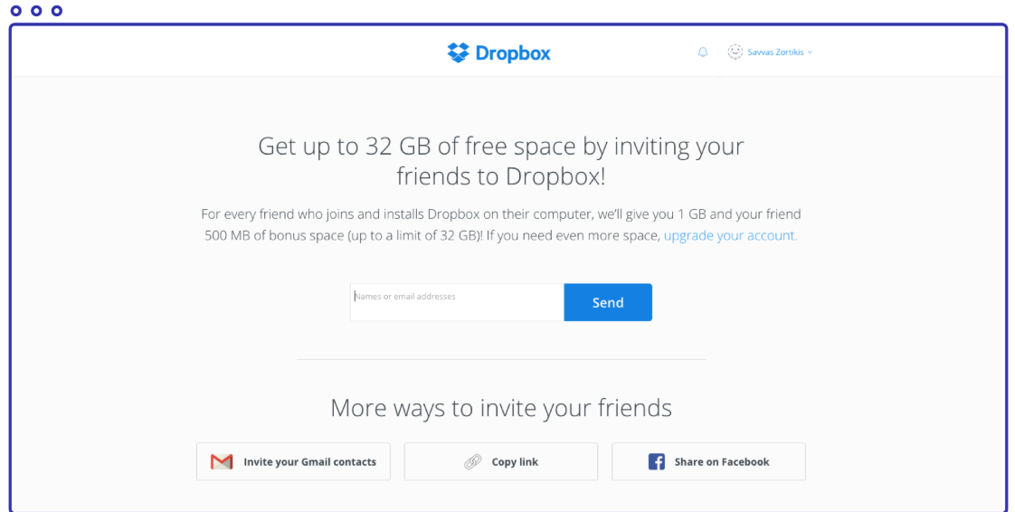 Dropbox Referral marketing example
