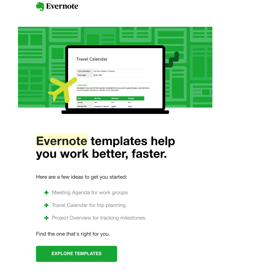 Evernote Email Example