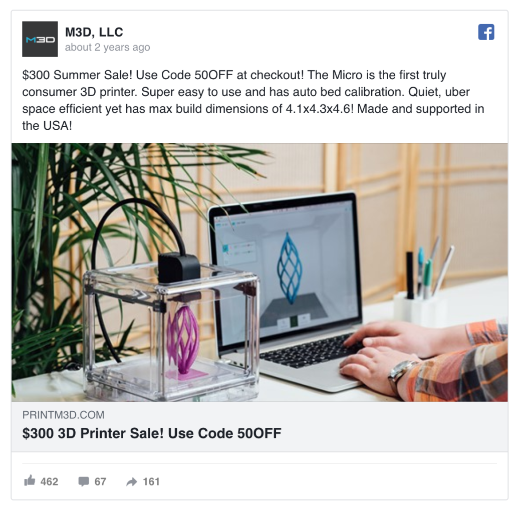 M3D printer Facebook Ad
