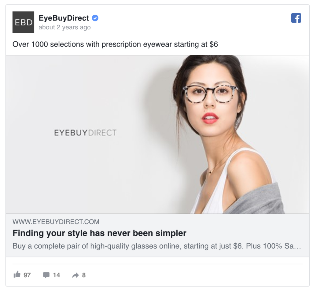 Eyebuydirect Facebook ads