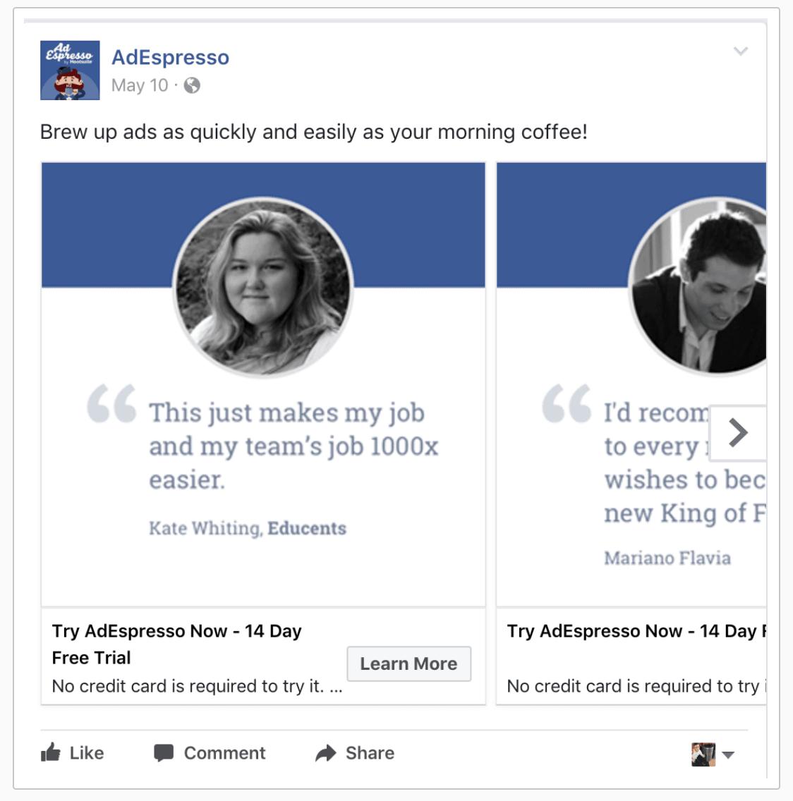 Facebook Testimonial Ads
